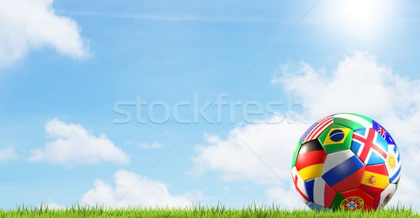 футбольным мячом флагами Россия 3D облака Сток-фото © Wetzkaz