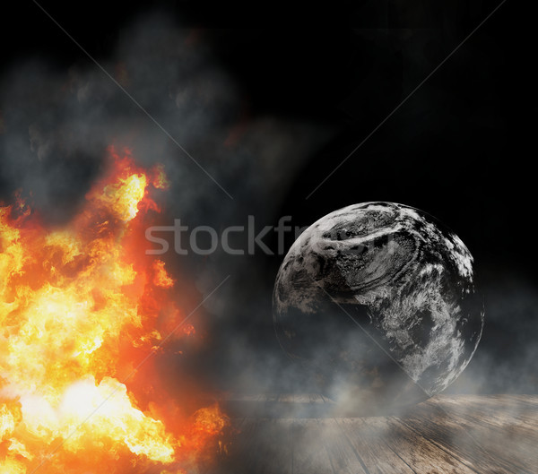 burned planet state of emergency with abstract world globe with  Stock photo © Wetzkaz