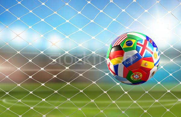 Fútbol objetivo balón de fútbol mundo banderas diseno Foto stock © Wetzkaz