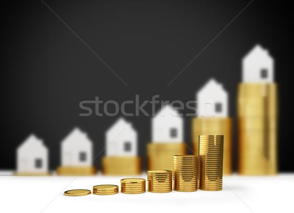 Casa precios 3d dinero financiar Foto stock © Wetzkaz