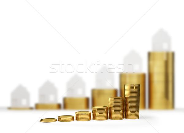 Stock fotó: Emelkedő · ház · árak · 3d · illusztráció · üzlet · pénzügy