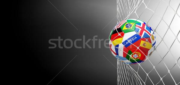 Piłka nożna cel piłka flagi netto 3D Zdjęcia stock © Wetzkaz