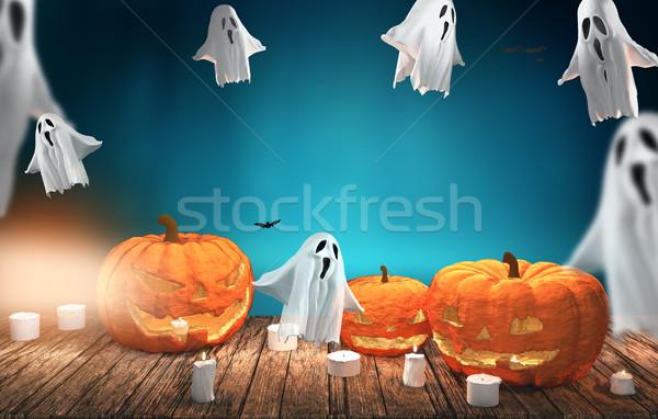 Halloween calabazas 3D forestales fondo Foto stock © Wetzkaz