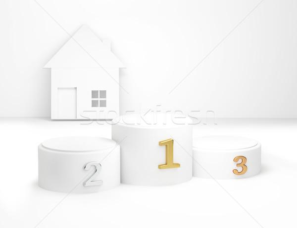Première deuxième troisième maison 3d illustration mur Photo stock © Wetzkaz