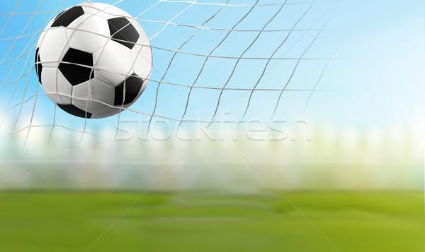 Balón de fútbol fútbol neto 3d objetivo Foto stock © Wetzkaz