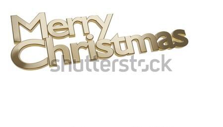 merry christmas golden bold letters 3d-illustration Stock photo © Wetzkaz