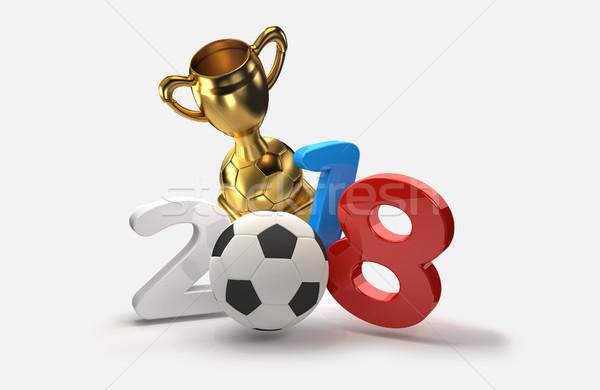 Foto stock: Futebol · futebol · ilustração · 3d · azul · bola · vermelho