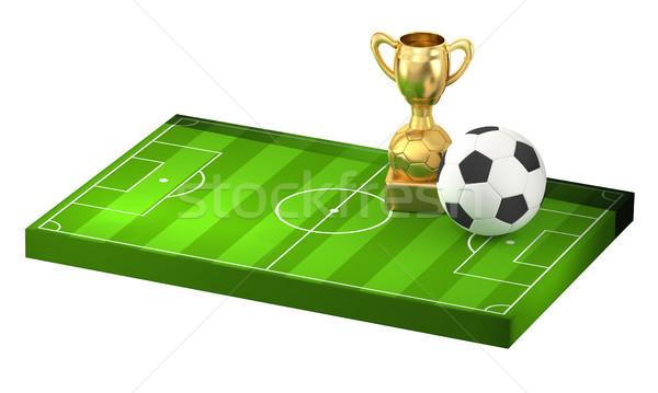 Futebol dourado troféu campo de futebol ilustração 3d isolado Foto stock © Wetzkaz