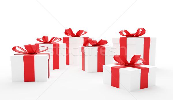 Cajas de regalo rojo regalos cajas Foto stock © Wetzkaz