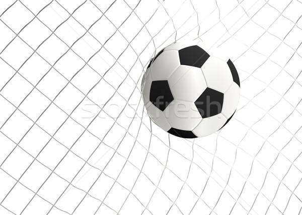 soccer goal white black ball 3d rendering Stock photo © Wetzkaz