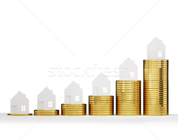 Casa precios 3d negocios dinero Foto stock © Wetzkaz