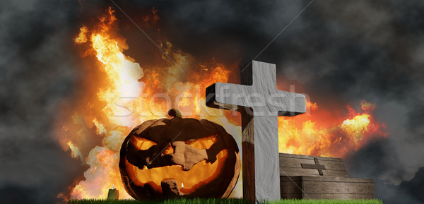 halloween pumpkin grave coffin and fire flames background 3d-ill Stock photo © Wetzkaz