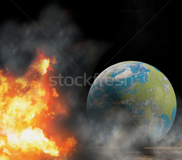 state of emergency with world globe focused at Europe with fire  Stock photo © Wetzkaz
