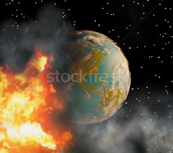 Notfall Welt Welt Feuer Flammen Rauch Stock foto © Wetzkaz