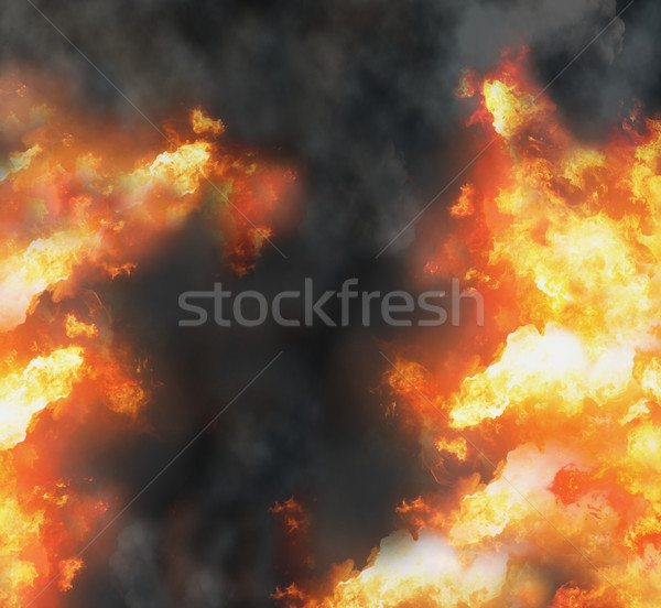 Stock photo: fire flames smoke background 3d-illustration