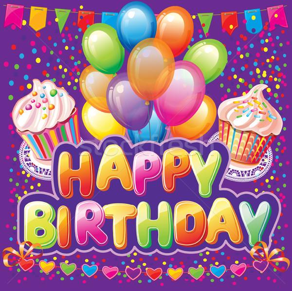 Gelukkige verjaardag tekst partij element gelukkig cake Stockfoto © Wikki