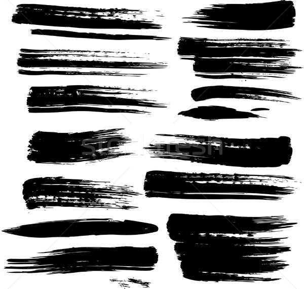 Ingesteld grunge textuur ontwerp zwarte Stockfoto © Wikki