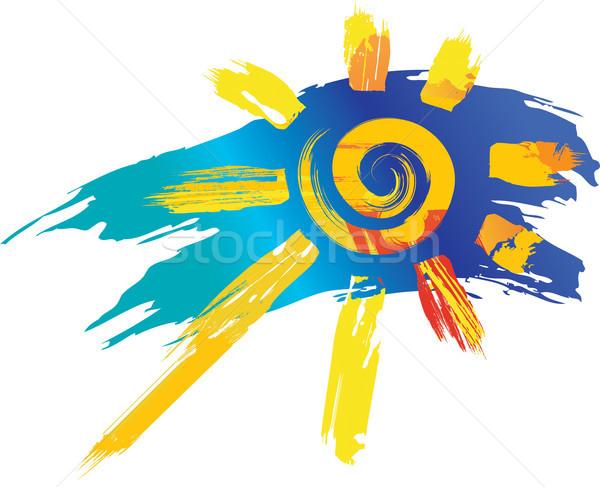 Zon symbool kleur spatten lijn abstract Stockfoto © Wikki