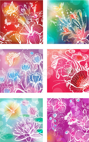 Set of illustrations with flowers Stock photo © Wikki