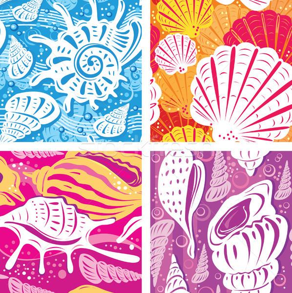 Naadloos shell patroon water textuur achtergrond Stockfoto © Wikki
