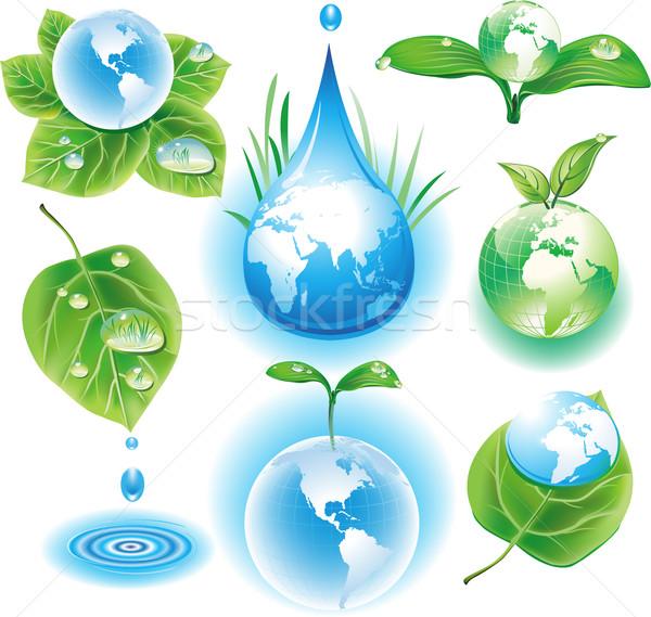 Stockfoto: Ecologie · symbolen · boom · kaart · ontwerp · aarde