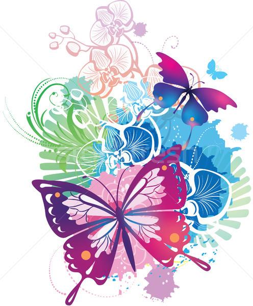 Illustratie vlinders voorjaar vlinder zomer vliegen Stockfoto © Wikki