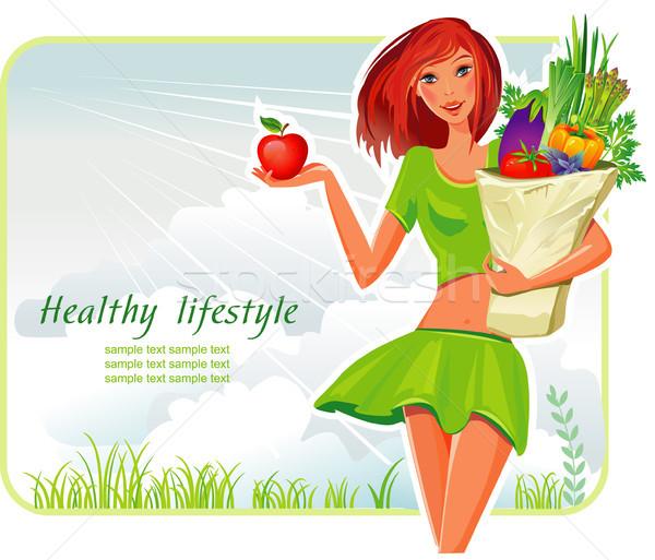 Meisje boodschappentas groenten voedsel gezondheid vrouwelijke Stockfoto © Wikki