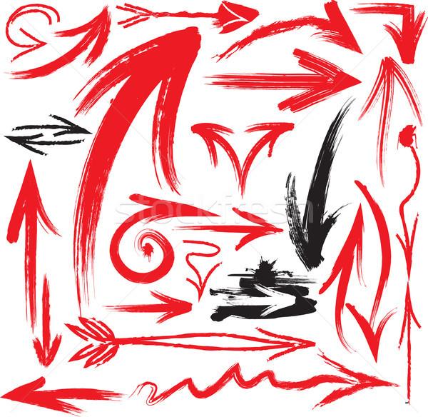 Grunge pijlen teken inkt borstel lijn Stockfoto © Wikki