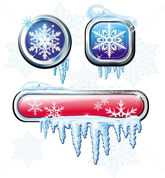 Winter knoppen internet teken bar koud Stockfoto © Wikki