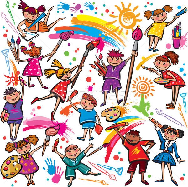 счастливым детей рисунок щетка красочный карандашей Сток-фото © Wikki