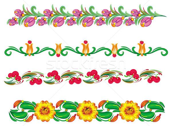 границе цветочный Элементы цветок текстуры дерево Сток-фото © Wikki