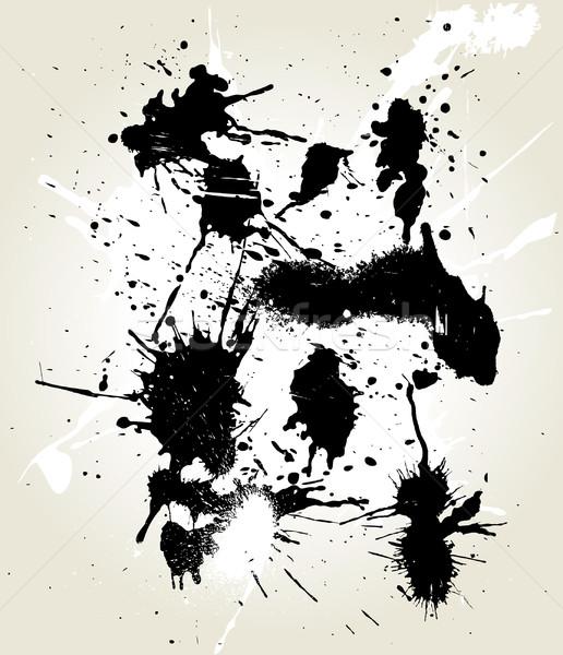 Rommelig inkt abstract ontwerp zwarte splash Stockfoto © Wikki