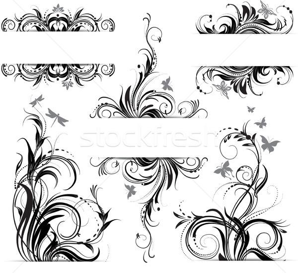 цветочный орнамент текстуры дизайна кадр черный Сток-фото © Wikki
