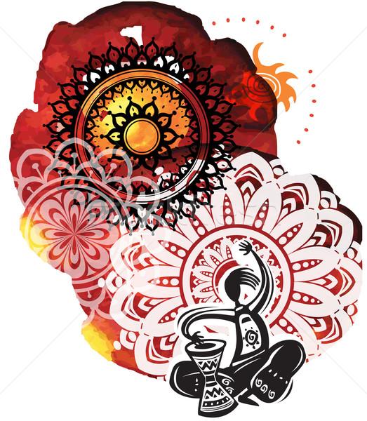 Muzikant aquarel textuur silhouet patroon tekening Stockfoto © Wikki