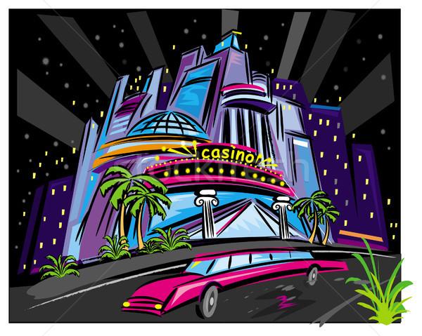 Night City scena budynku przemysłowych kasyno czarny Zdjęcia stock © Wikki