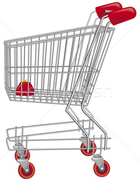 Lege winkelwagen winkelen financieren supermarkt zilver Stockfoto © Wikki