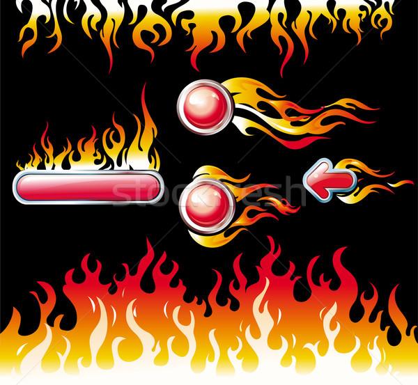 Brand grafische communie knoppen Rood hot Stockfoto © Wikki