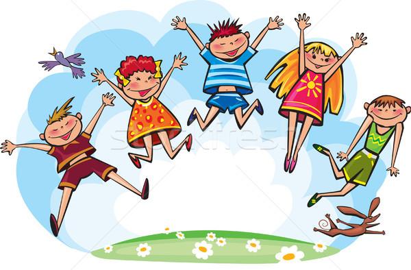 прыжки детей девушки спорт ребенка Перейти Сток-фото © Wikki
