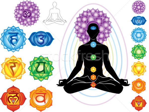 Stock photo: Silhouette of man with symbols of chakra