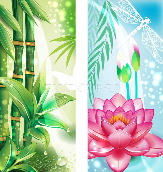 Verticaal banners bamboe lotus natuur blad Stockfoto © Wikki
