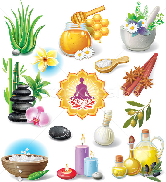Set of spa treatment symbols Stock photo © Wikki