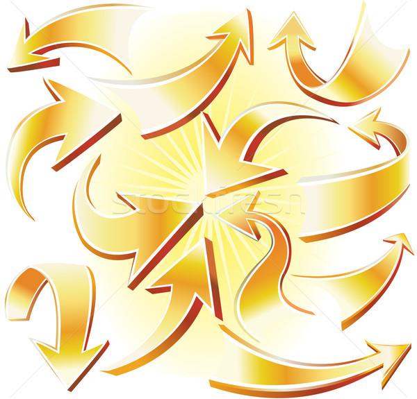 Gouden pijl business teken informatie schaduw Stockfoto © Wikki