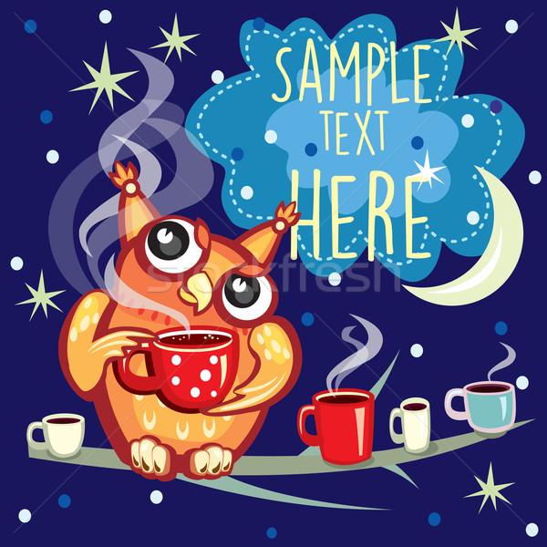 Cute совы Кубок кофе бумаги счастливым Сток-фото © Wikki