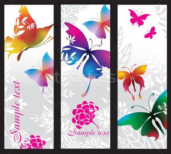 Verticaal banners kleurrijk vlinders ontwerp silhouet Stockfoto © Wikki