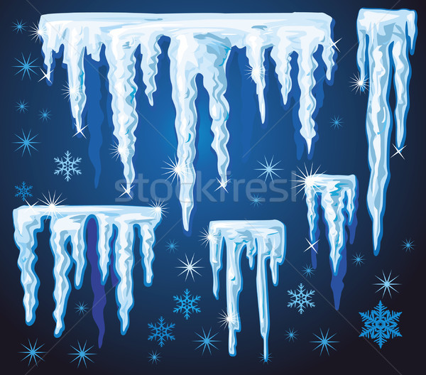 Set of vector icicles for design Stock photo © Wikki