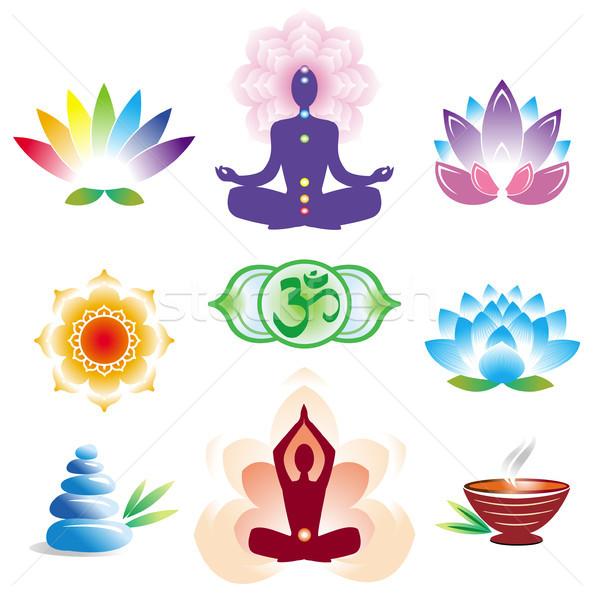 Bloem natuur teken yoga Stockfoto © Wikki