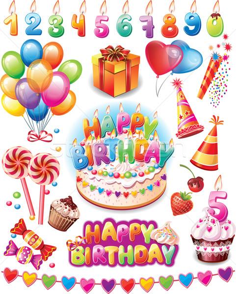 Feliz cumpleaños establecer feliz cumpleanos marco diversión Foto stock © Wikki