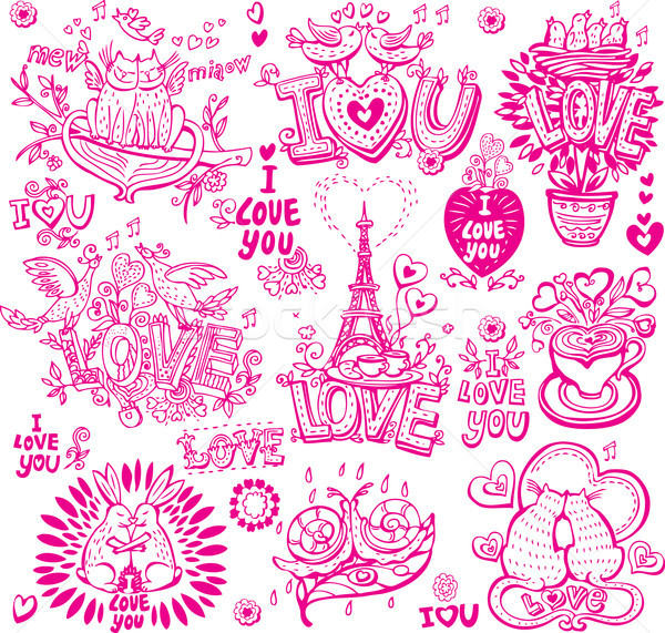 Ingesteld liefde hart pen Stockfoto © Wikki