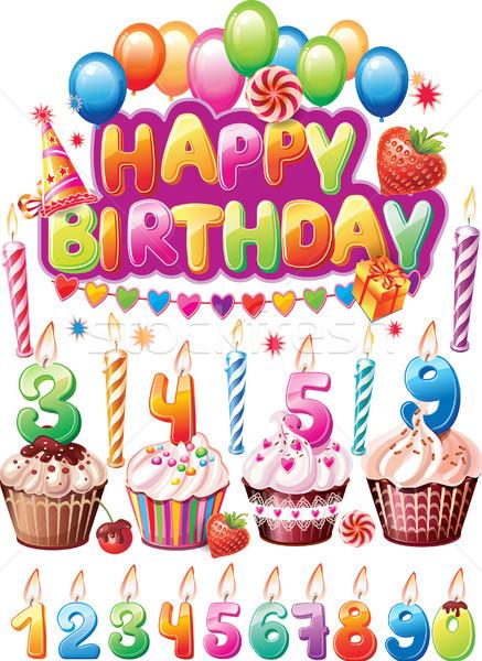 Stockfoto: Ingesteld · verjaardag · kaarten · voedsel · partij · vlag