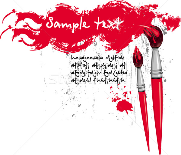 Paintbrush and red grange element Stock photo © Wikki
